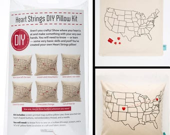 DIY (do it yourself) Pillow Kit - Heart Strings - USA Map Pillow - Mother's Day Gift