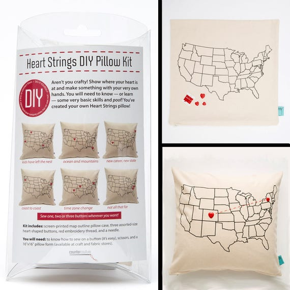 Diy do it yourself pillow kit heart strings usa map like this item solutioingenieria Images