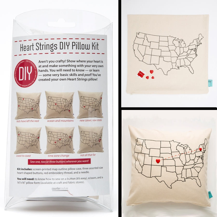 DIY do it yourself Pillow Kit Heart Strings USA Map