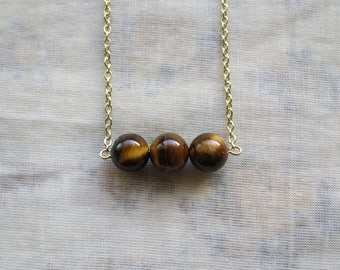 triple tiger eye sphere necklace