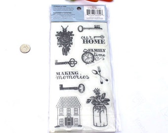 Sale! Heidi Grace 10 Rubber Cling Stamp set Home NEW in Package!  Our Home stamp, Old Fashioned Key stamp House Rubber STamp, Home Rubber