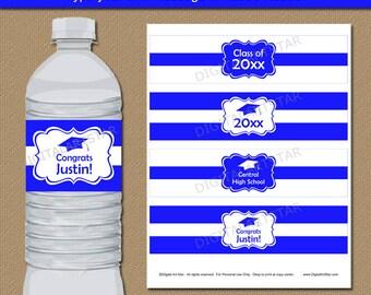 High School Graduation Water Bottle Labels, College Graduation Decorations, Royal Blue High School Graduation Party Decoration 2018 G1