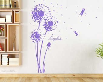 Wall flower and your name - dandelion wall sticker wall sticker wall decoration stickers stickers floral name w707