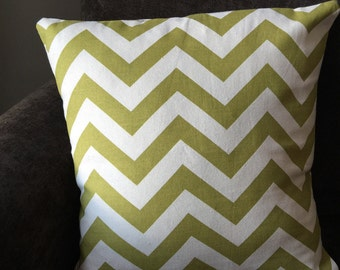 Green and white chevron pillow cover