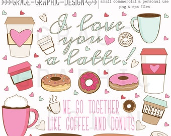 Clipart, Coffee And Donut Clipart Set, Hand Illustrated Digital Illustrations, Small Commercial Use, Coffee and Latte Clipart, Donut Art