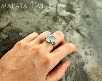 Blue full moon blue chalcedony silver ring