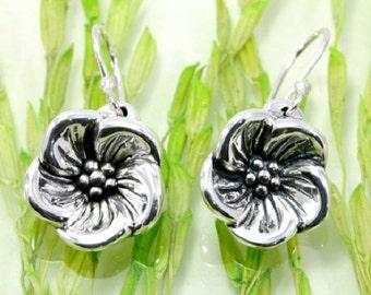 Earrings, blossom, 925 sterling silver, --  6118