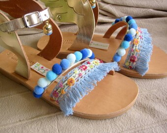 "Sandals for kids with wings Gold / Baby sandals/ Natural Greek Leather sandals / Slingback Slides/Strap Sandals - ""Blue Belle"""