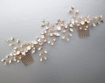 Swarovski crystal bridal hair vine, Bridal hair comb, Wedding hair comb, Swarovski bridal comb, Opal bridal rhinestone headpiece, White opal