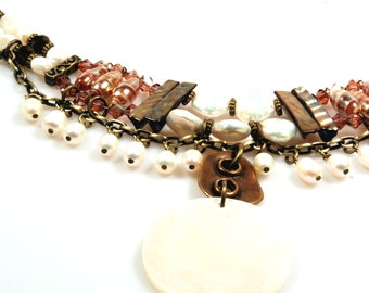 Pearl choker necklace in brown, cream and brass with shells, pearls, Murano glass - statement necklace in western style, beach style