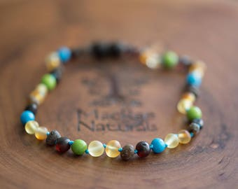 BEST SELLER- Raw Baltic Amber Teething Necklace in 'Colton' - Custom MacRae Naturals Amber Necklace