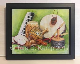 "Framed Gliceé Print - ""Percussion"" - 8 x 10"""