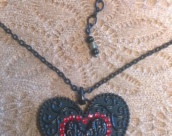 "Heart Shaped Pendant Necklace on 16"" black chain"