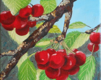 Original painting oil fruits - cherries-small format Original oil painting of fruits - Cherries-Small size