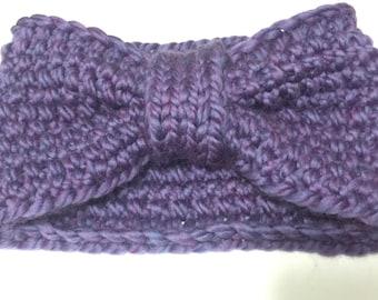Purple Knit Ear Warmer Headband