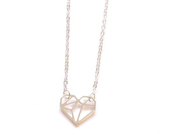 HEART NECKLACE ORIGAMI, love necklace Geometric heart necklace, gold heart, silver heart, Valentine's day gift, heart necklace, Tiny heart