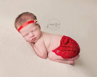 Red Lace Newborn Vintage skirt and floral headband set