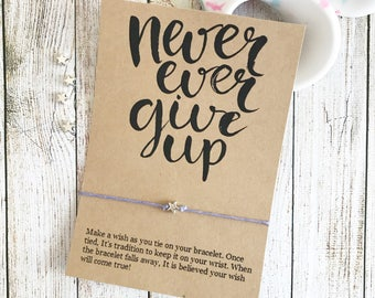 Never Ever Give Up Bracelet, Motivation Bracelet, Inspiration Bracelet, Wish Bracelet, Star Bracelet, Inspiration Jewelry, Party Favors