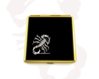 Scorpion Square Compact Mirror Inlaid in Hand Painted Black Onyx Enamel Penny Dreadful Inspired  Personalized with Color Options
