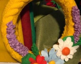 Colorful Cheerful Yellow Wreath with Handmade Felt Flowers