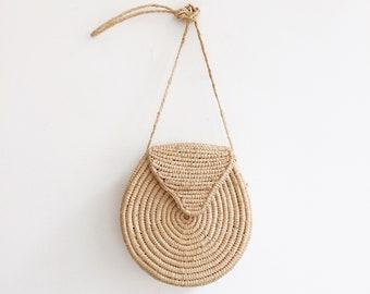 Vintage raffia rattan round summer festival basket summer bag purse