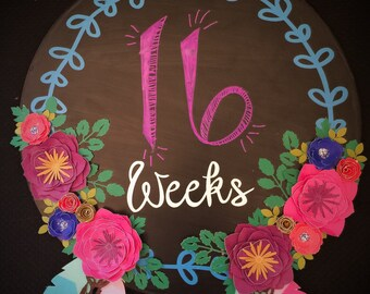Pregnancy chalkboard Belly tracker by weeks, pregnancy tracker, bump tracker, pregnancy by weeks, feather nursery, chalkboard pregnancy sign