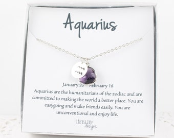 Aquarius Zodiac Silver Necklace, Aquarius February Necklace, February Birthday Jewelry, Zodiac Necklace, Astrology Silver Necklace