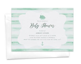 Nautical Baby Shower Invitation, Nautical Invitation, Sea Side, Ocean, Nautical Theme, Sailing, Anchor, Sail Boat, Stripes Marine Maritime
