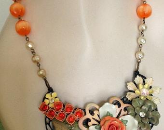 Vintage Enamel Statement Necklace - OOAK Necklace. Peach, Orange, Sage Green - JaelDesigns