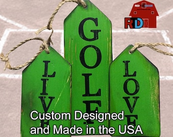 Handmade Rustic Golf Tags built and hand painted by BJ and Bailey at RedTop Decor