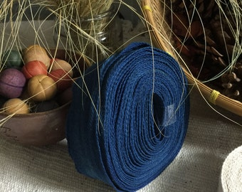 Hand-dyed Indigo blue cotton ribbon (1 roll)