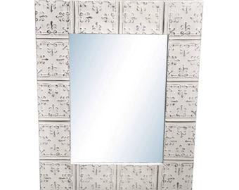 Mini Fleur de Lis 22 in. x 28 in. Tin Mirror