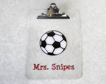 Soccer Clipboard - Personalized Teacher Clipboard - Teacher Gift - Personalized Teacher Gift - Teacher Appreciation -  Teaching