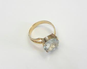20% OFF Quartz handmade  silver ring, Quartz in 24k gold over sterling silver, elegant lemon Quartz ring, Simple Quartz sterling silver ring