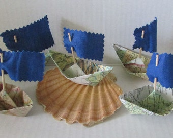 paper boat origami decoration photo prop art supply lot of 5 paper sail boats with flags