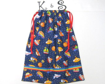 Drawstring Bag With Adorable Trains, Planes, Boats, Cars And Buses/A Perfect Gift For Your Favorite Little Boy/Christmas, Birthday, Shower