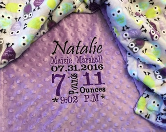 Personalized Custom Embroidered Minky Blanket;