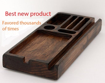Multi Charging Station, tablet holder , Office Gifts , Couple Gifts , nightstand organizer , mens valet , Wood Gift Ideas , tablet and phone