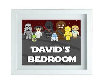 Star Wars Inspired Wall Art, Personalized Wall Art, Custom Name Print, Star Wars, Boys Bedroom Wall Art, Boys Bedroom Decor, Boys Wall Art