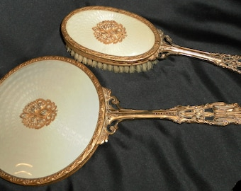 Intricately Detailed and Refined Vintage Rich Looking Brush & Beveled Mirror Vanity Set