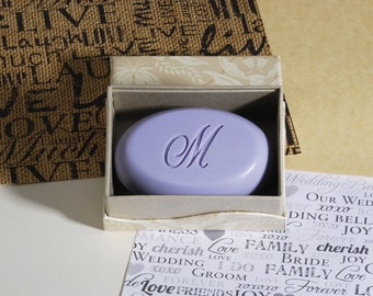 Personalized Scented Soaps - Etched with an Initial - Single Bar Box - Wedding Favors, Gifts, Gifts for Bridesmaids or Mother of the Bride
