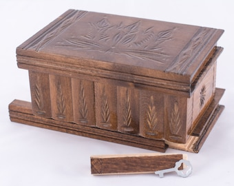 Classical Wooden Carved Jewelry Puzzle Boxes by kalotart on Etsy