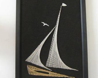 Nautical Saling Ship String Art Vintage 1980's Reworked