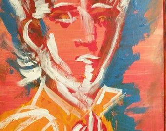 Leonora 1, surrealist, acrylic, portrait, bold, woman, resist