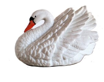 Royal Heritage, Birds in Flight, Swan Figurine, Heritage Bisque Swan, Royal Porcelain, Swan Decor, Nursery Decor, Figurine