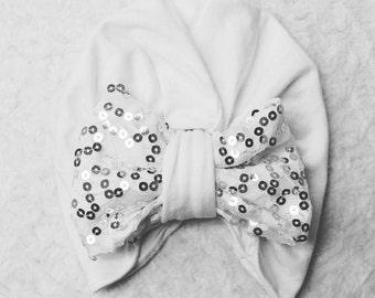 White Sparkle Turban Bow Beanie
