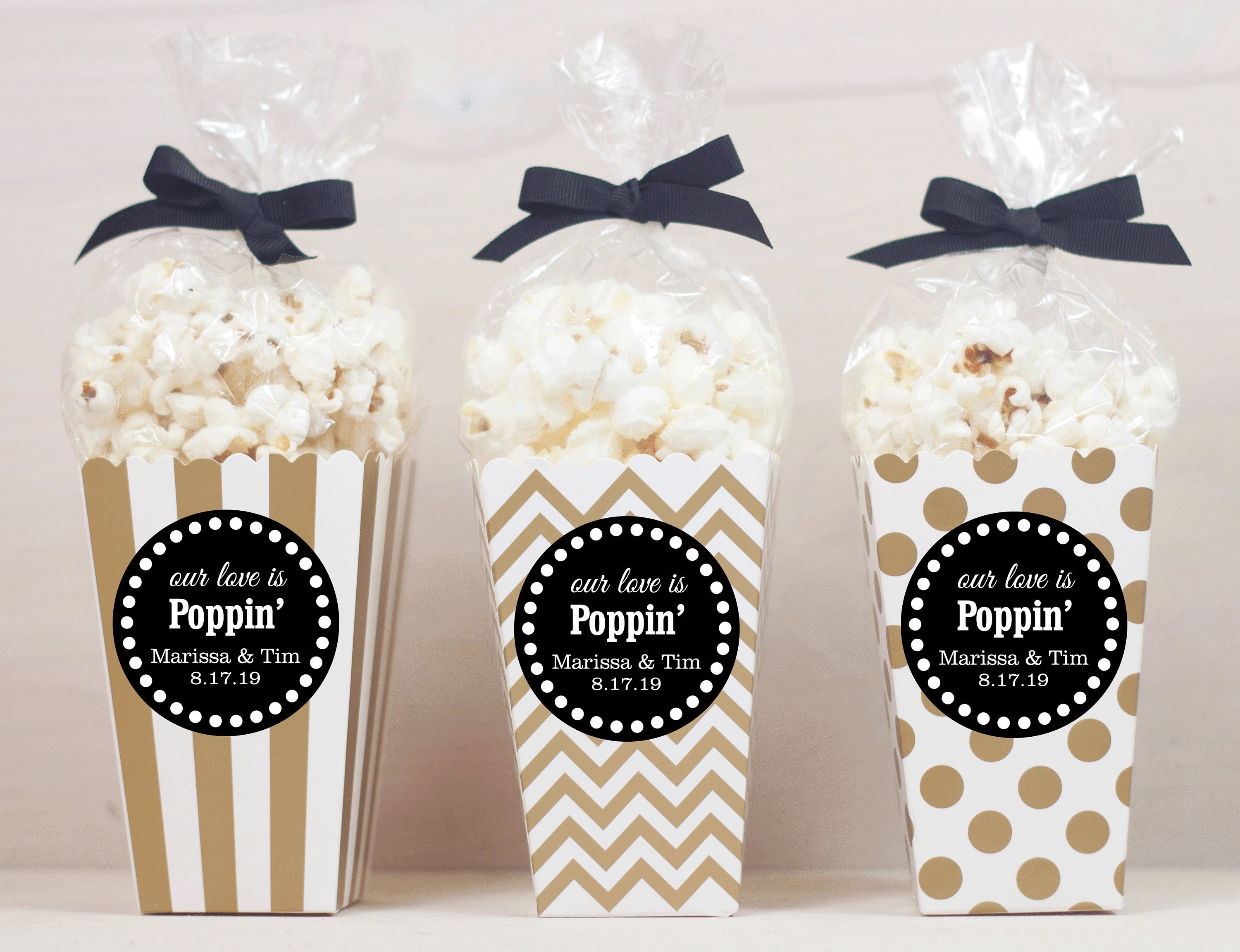 12 Custom Popcorn Box Favors Wedding Favors Personalized