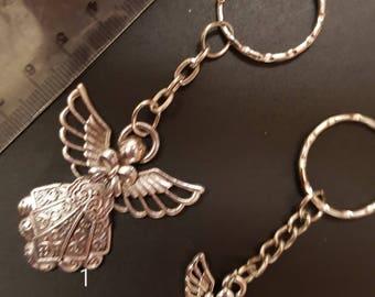 Silver Guardian Angel Keyring