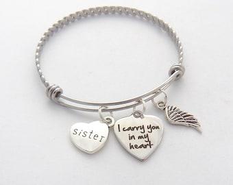 Sister Memorial Bracelet, Sympathy Gift Sister, SYMPATHY Jewelry, Loss of Sister, Sister Remembrance Bracelet, In memory of Sister