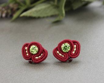 Red green studs. Dark red earrings, Rhinestone earrings studs. Red post earrings Small earrings Soutache earrings, inspirational imagination